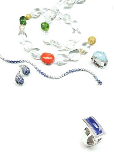 Stephen Webster crystal ice necklace, sapphire and diamond teardrop earrings with matching bracelet, white gold rings with quartz/turquoise and quartz/lapis.