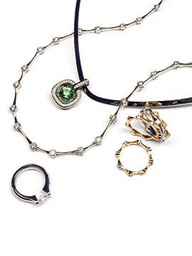 Platinum and diamond necklace, white gold hand forged collar 