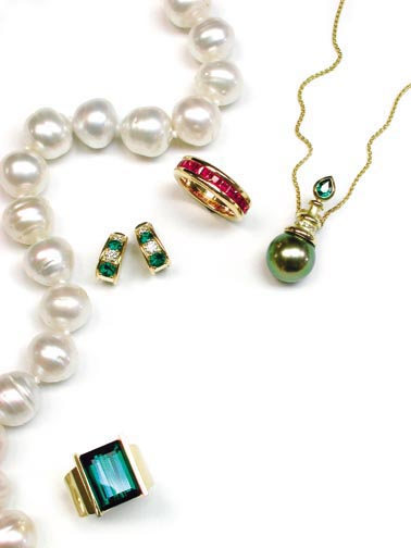South Sea Cultured Pearl Necklace, Gold and Ruby Band, Emerald and Diamond Earrings, Tahitian Black Cultured Pearl Necklace with Chrome Tourmaline and Diamonds, Green Tourmaline Gold Ring